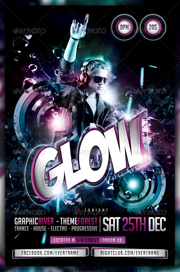 glow neon dance party flyer poster by fadeink graphicriver