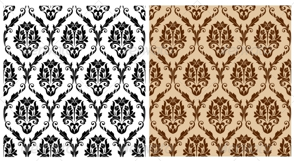 Seamless Floral Damask Pattern - Patterns Decorative