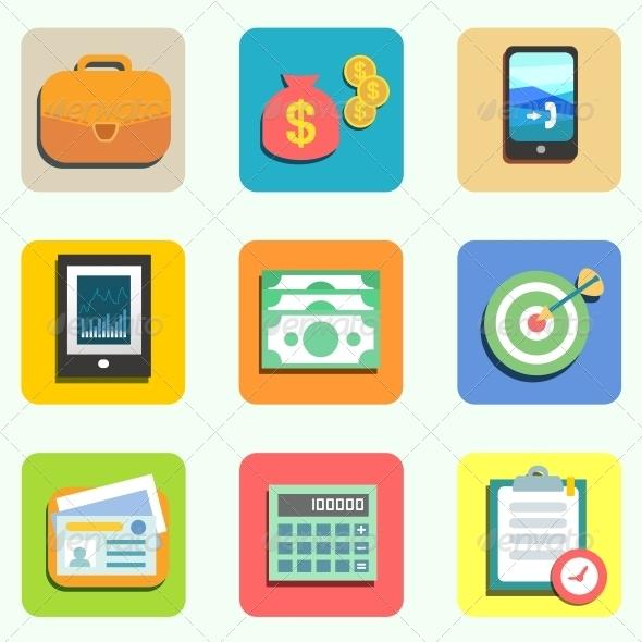 Finance Flat Icons - Web Technology