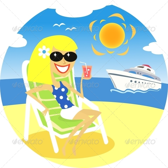 Girl on Beach - People Characters