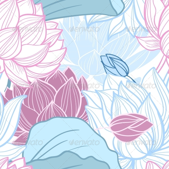 Lotus Seamless Pattern - Backgrounds Decorative