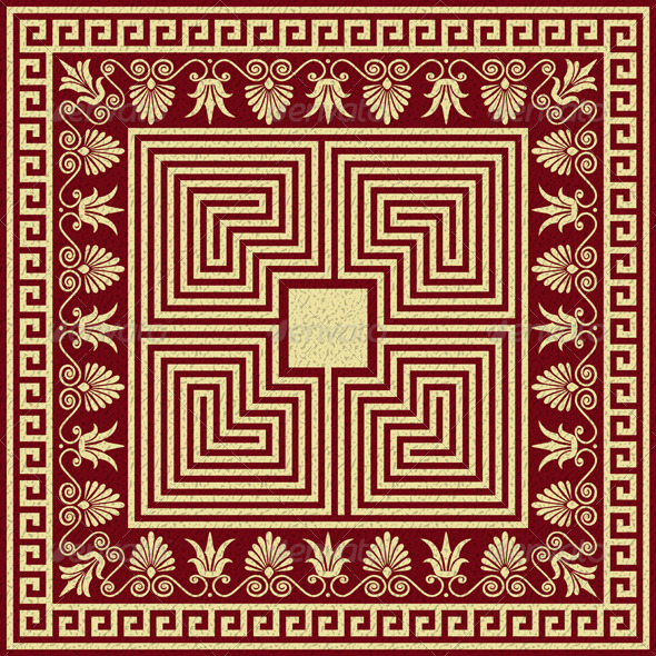Vector Vintage Gold Greek Ornament (Meander) - Patterns Decorative