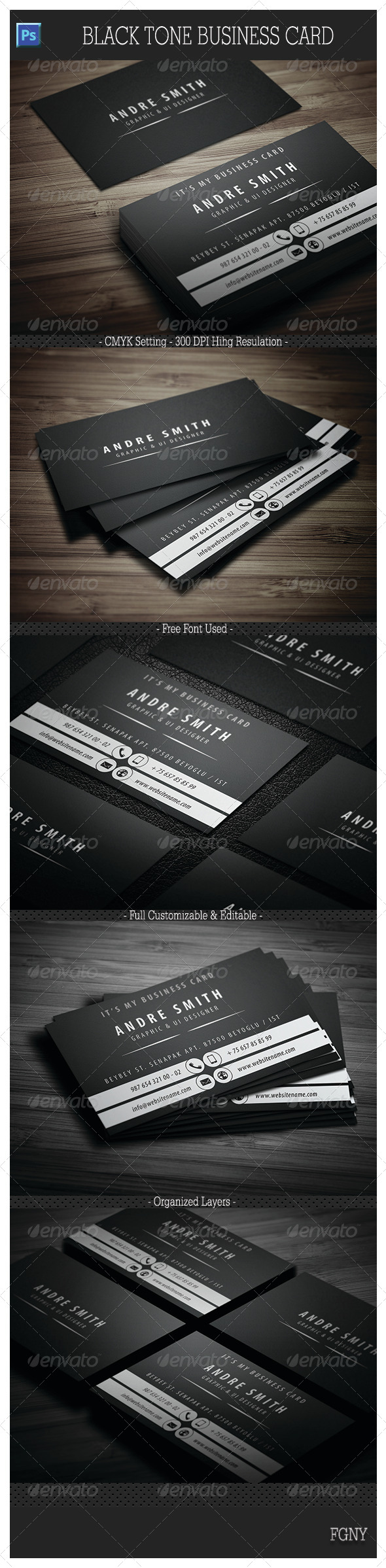 Black Tone Business Card  - Creative Business Cards