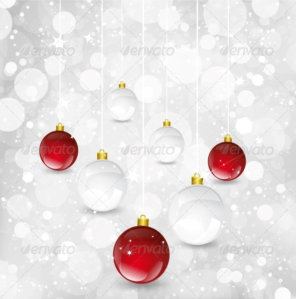 Christmas Background with Balls - Christmas Seasons/Holidays