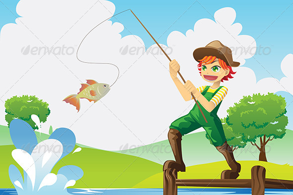 Boy going Fishing - Sports/Activity Conceptual