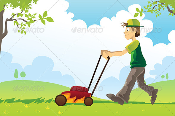 Mowing Lawn - People Characters
