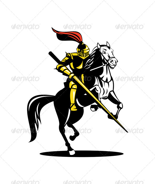 Knight on Horse with Sword - Animals Characters