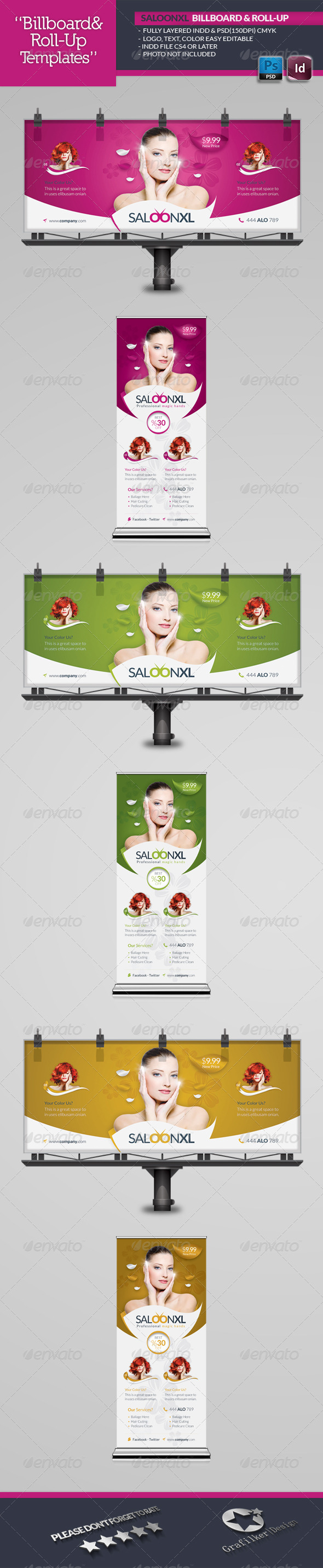 Beauty Saloon Billboard Roll-Up Template - Signage Print Templates