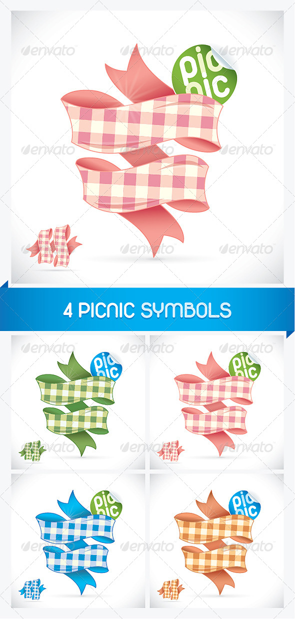 4 Picnic Sign Illustrations - Miscellaneous Conceptual