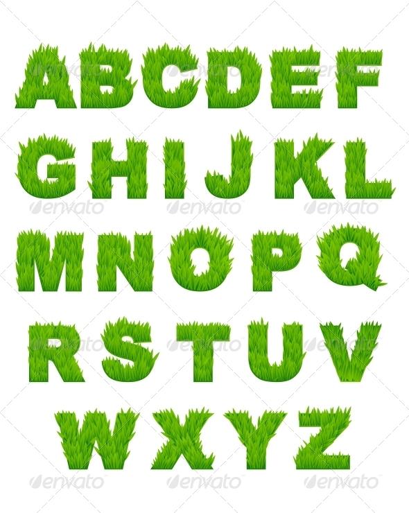 Green Grass Letters of Alphabet - Decorative Symbols Decorative