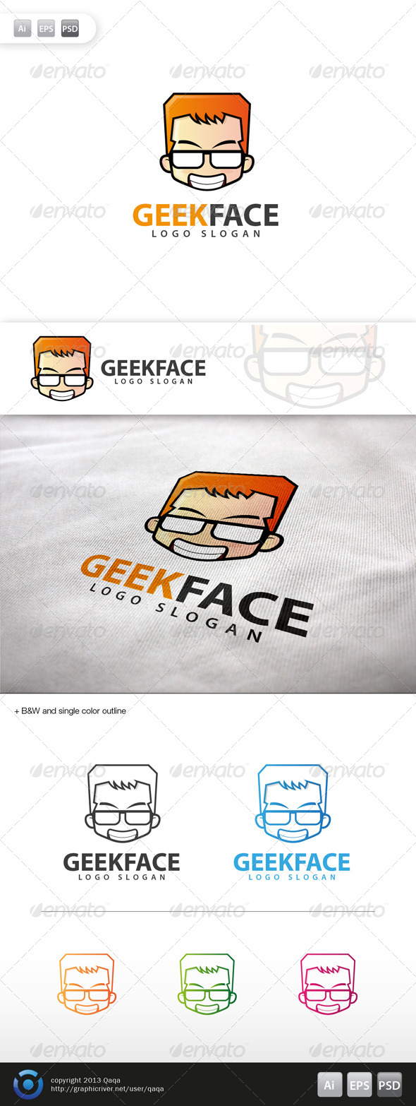 Geek Face Logo - 13 - Humans Logo Templates