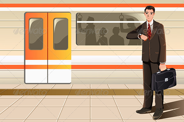Businessman Waiting for Subway - Business Conceptual