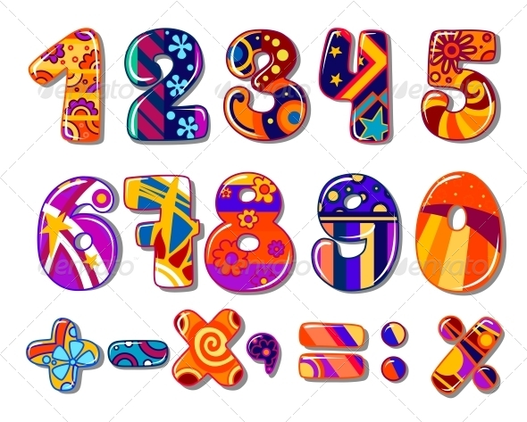 Cartoon Colourful School Numbers - Decorative Symbols Decorative
