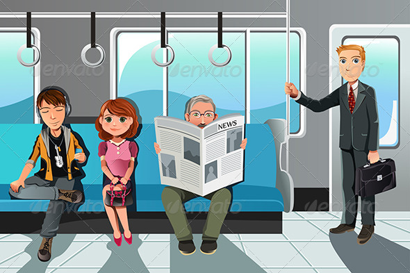 People riding Train - People Characters