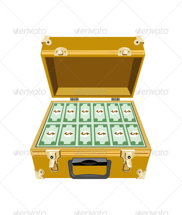 Money in Briefcase - Man-made Objects Objects