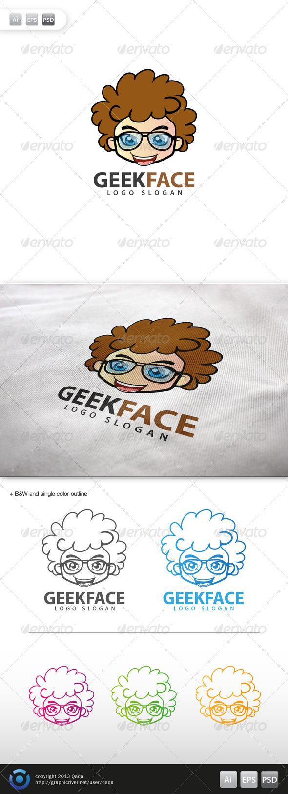 Geek Face Logo - 15 - Humans Logo Templates