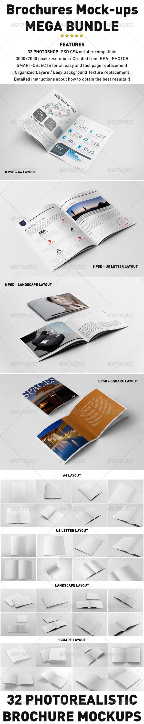 Photorealistic Brochures Mockups Bundle - Print Product Mock-Ups