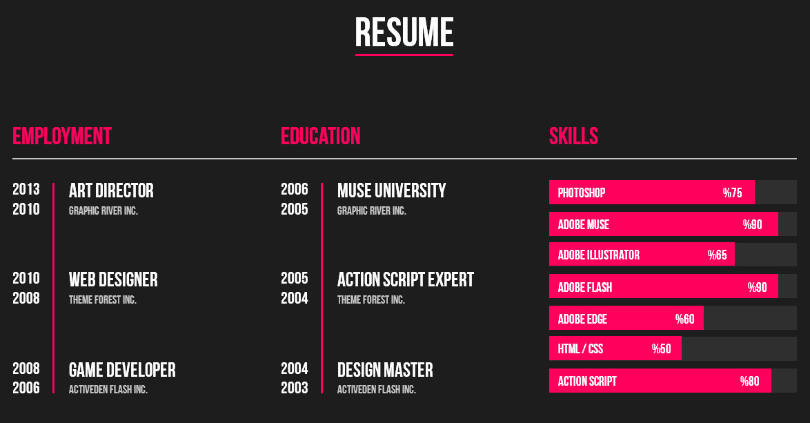personal cv website template resume templates free download muse web screen shot