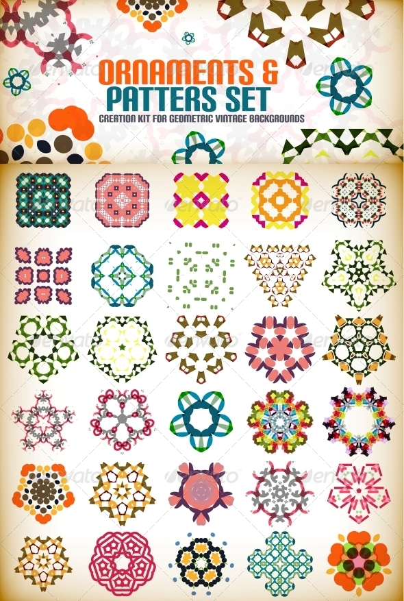 Abstract Geometric Vintage Shapes for Backgrounds - Patterns Decorative