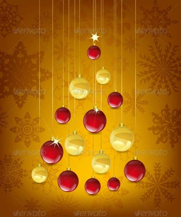 Christmas Card with Tree in the Shape of Balls - Christmas Seasons/Holidays