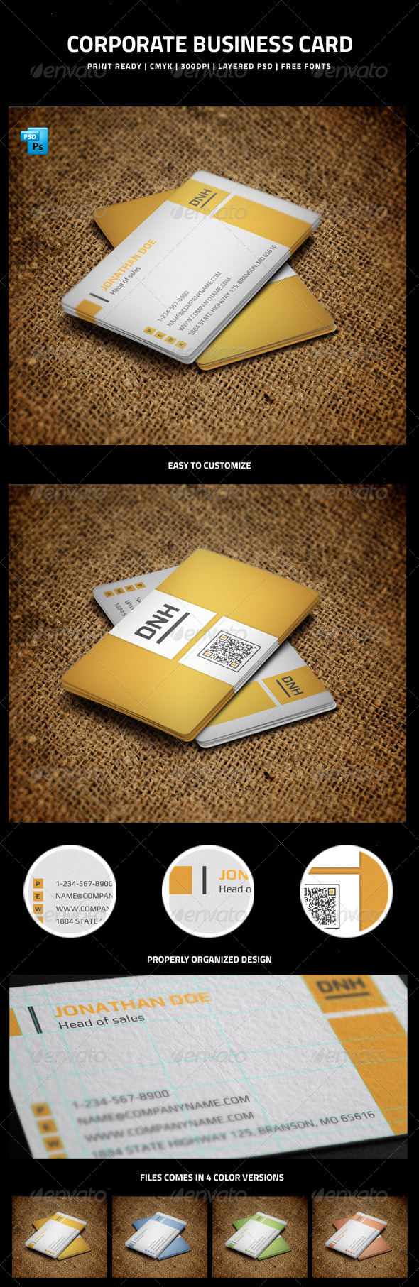 Corporate Business Card  with QR code - 7 - Corporate Business Cards