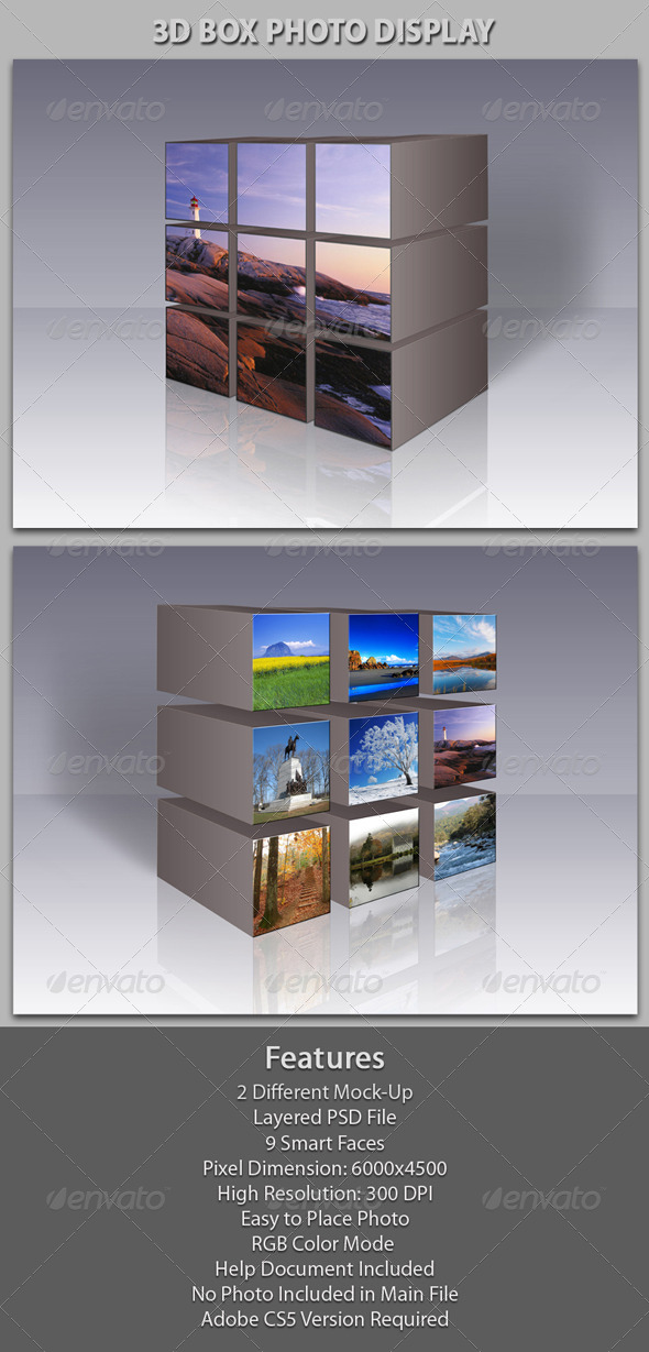 3D Box Photo Gallery - Miscellaneous Photo Templates