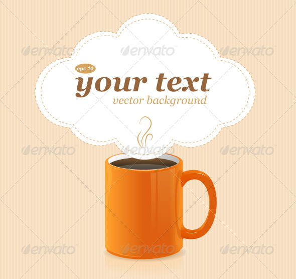 Vector Orange Coffee Cup with Text - Borders Decorative