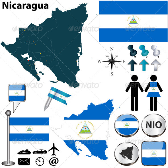 Map of Nicaragua - Travel Conceptual
