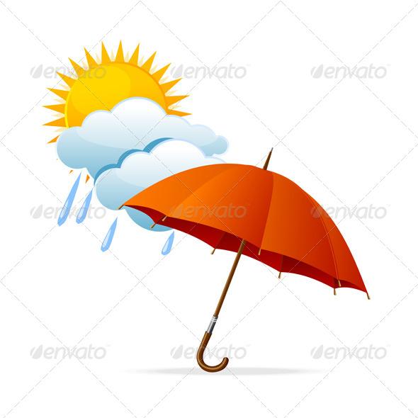 Vector Rainy Weather Icon - Seasons Nature