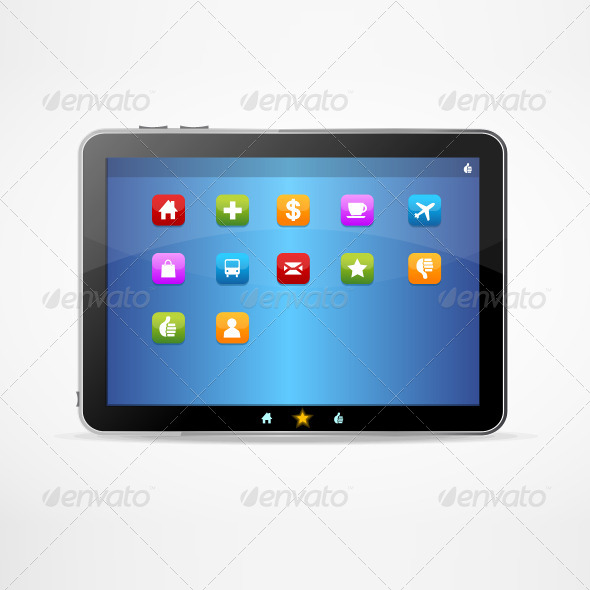 Black Tablet on White Background and Icons - Communications Technology