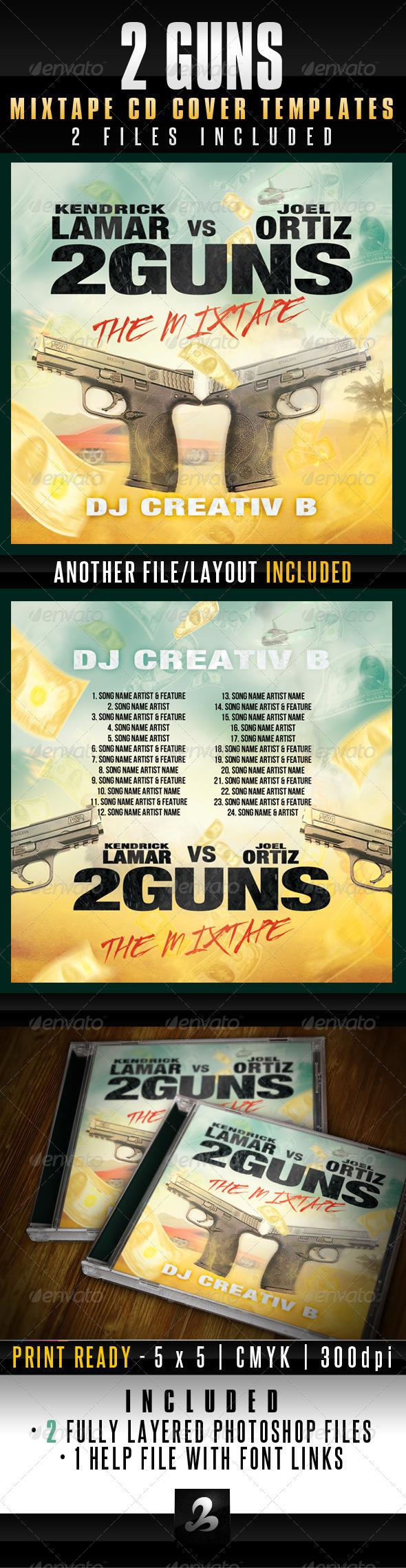 2 Guns Mixtape CD Cover Templates - CD & DVD Artwork Print Templates