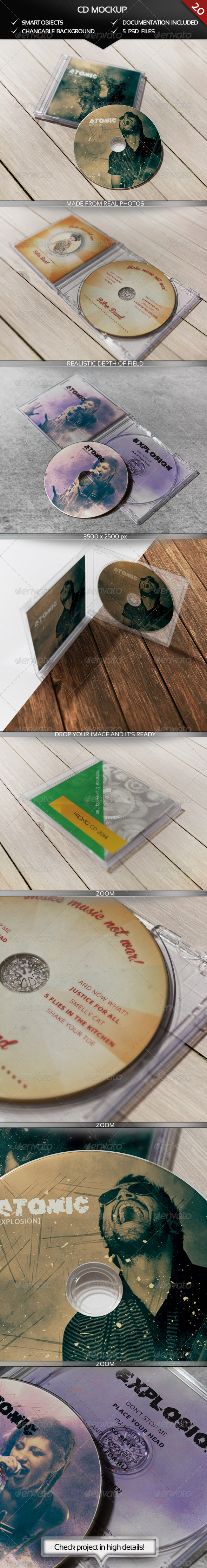 CD Realistic Mockup - Discs Packaging