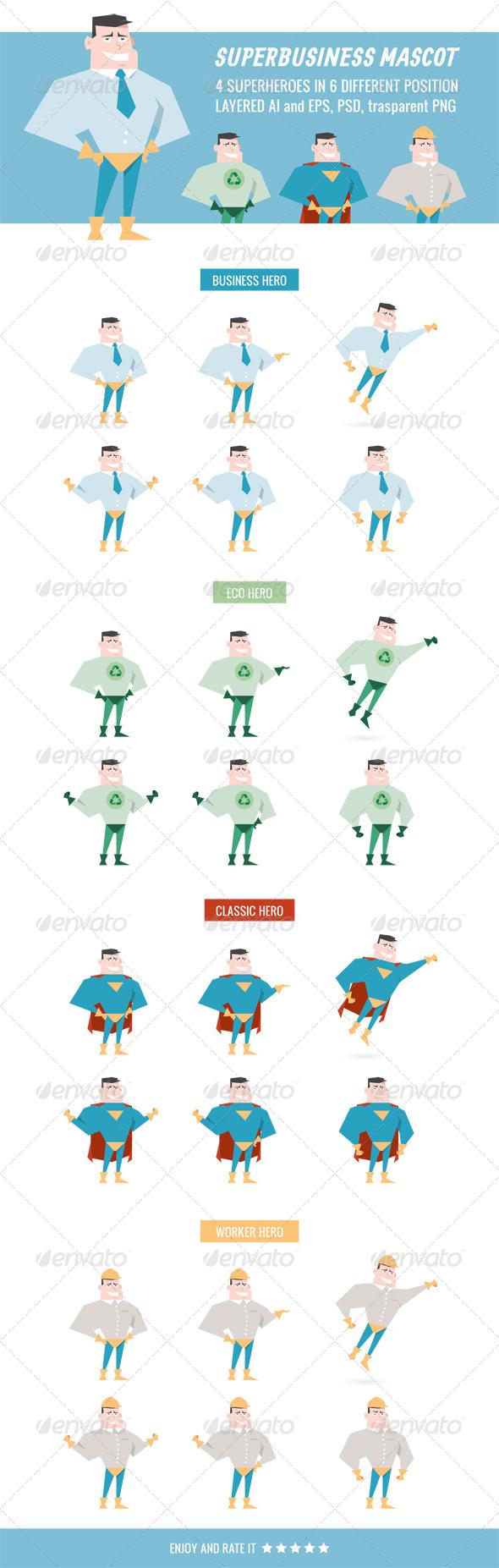 Superbusiness Mascot - Characters Vectors