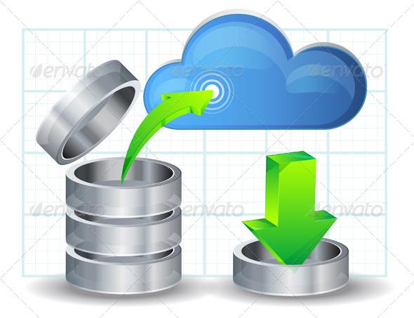 Upload Data to Cloud - Illustration - Web Technology