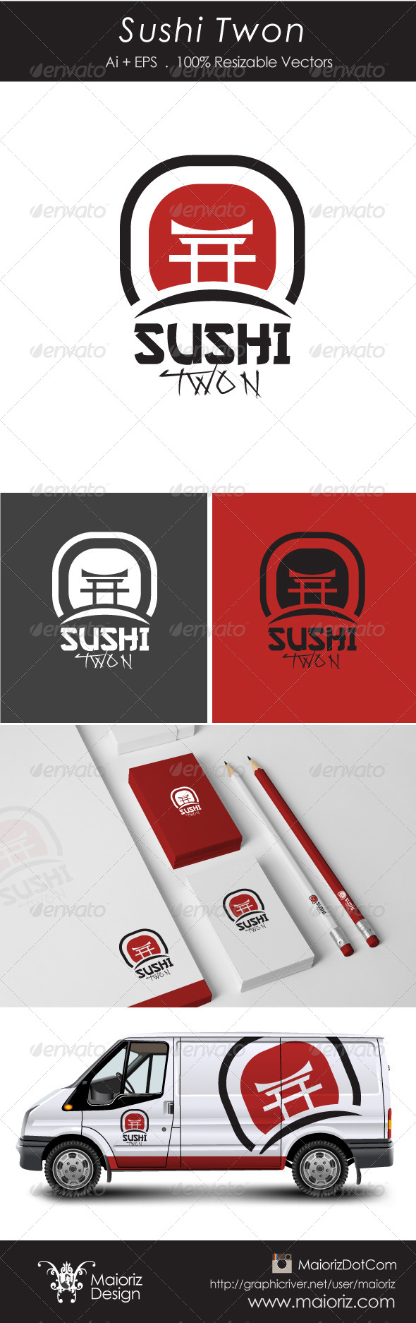 Sushi Twon Logotype - Food Logo Templates
