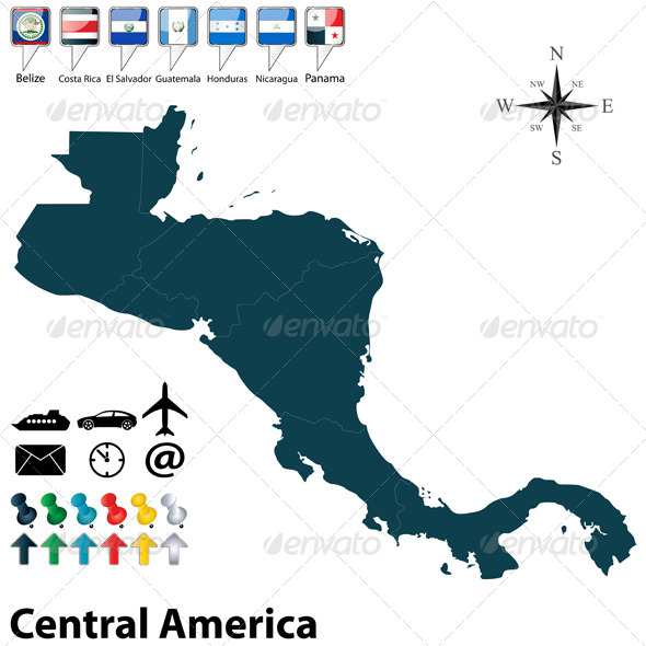 Political Map of Central America - Travel Conceptual