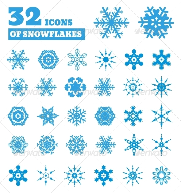 Snowflakes Set of 32 Icons - New Year Seasons/Holidays