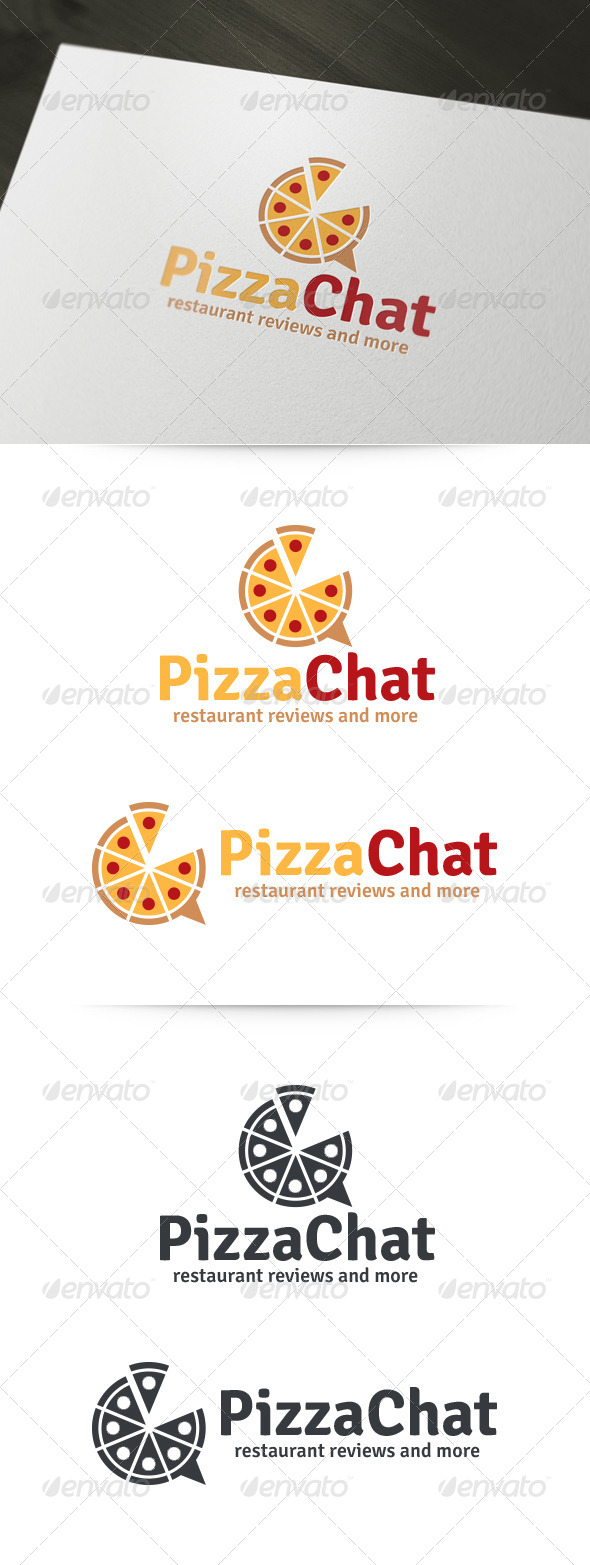 Pizza Chat Logo - Food Logo Templates