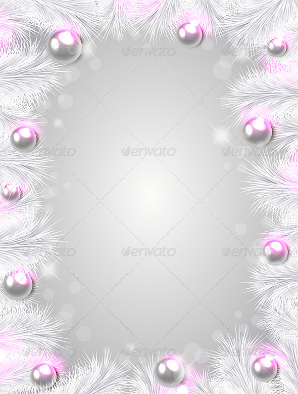 Christmas Background with White Fir Branches - Christmas Seasons/Holidays