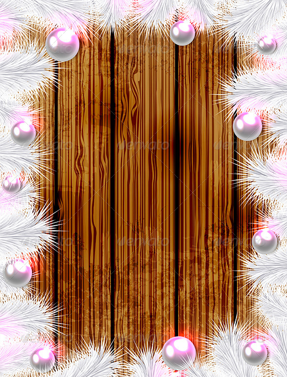 Christmas Wooden Background with White Fir - Christmas Seasons/Holidays