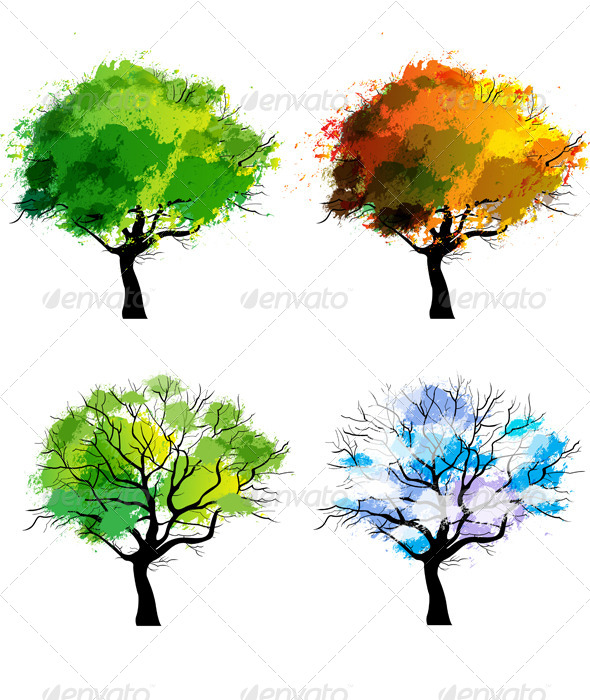 Trees of Four Seasons - Flowers & Plants Nature