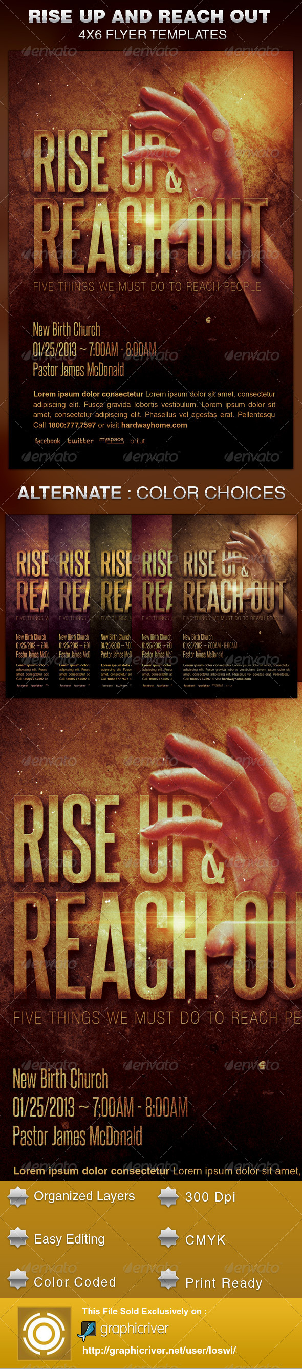 Rise Up and Reach Out Church Flyer Template - Church Flyers