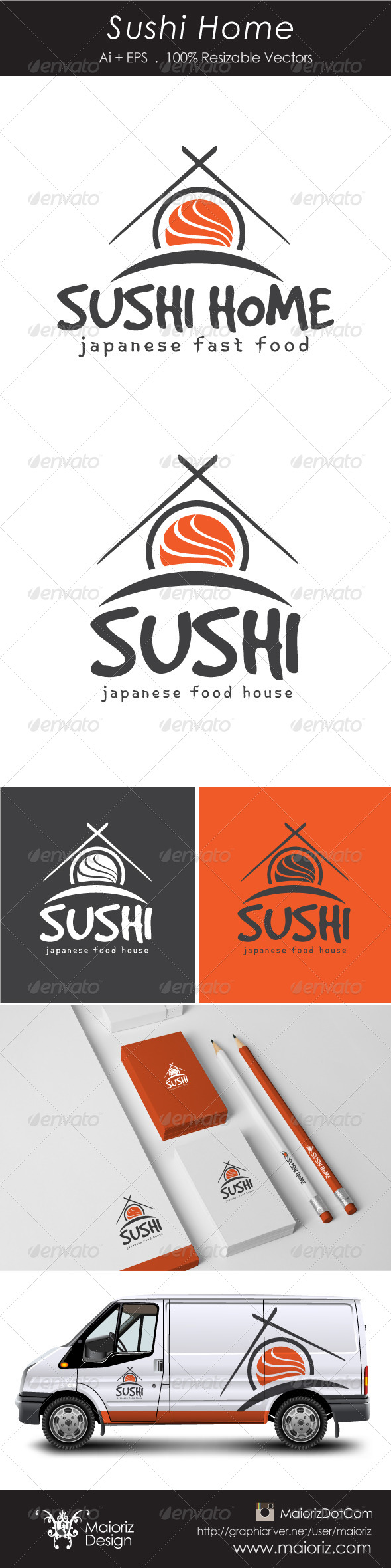 Sushi Home Logotype - Food Logo Templates