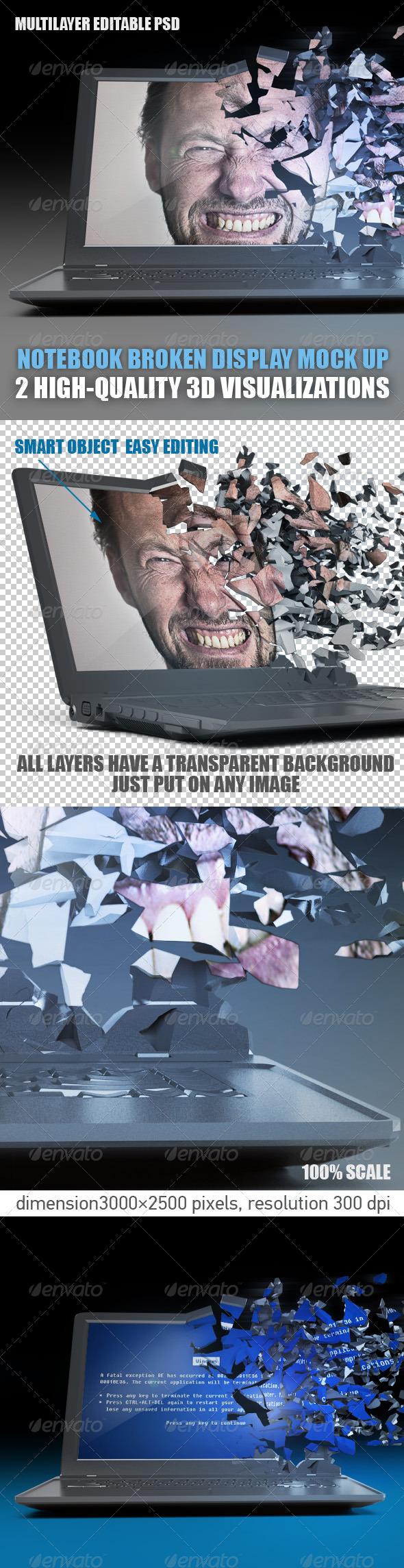 3D Notebook broken display mock up - Laptop Displays