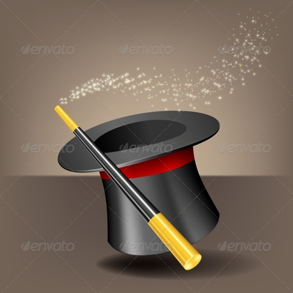Magic Hat and Wand with Sparkles. - Man-made Objects Objects