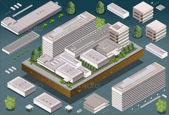 Isometric Modern Building - Buildings Objects