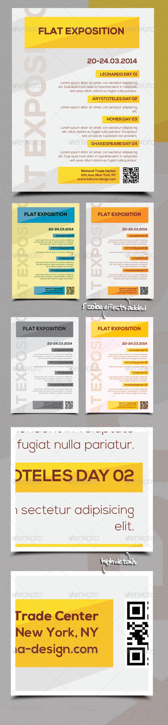 Flat Exposition Poster / Flyer - Flyers Print Templates
