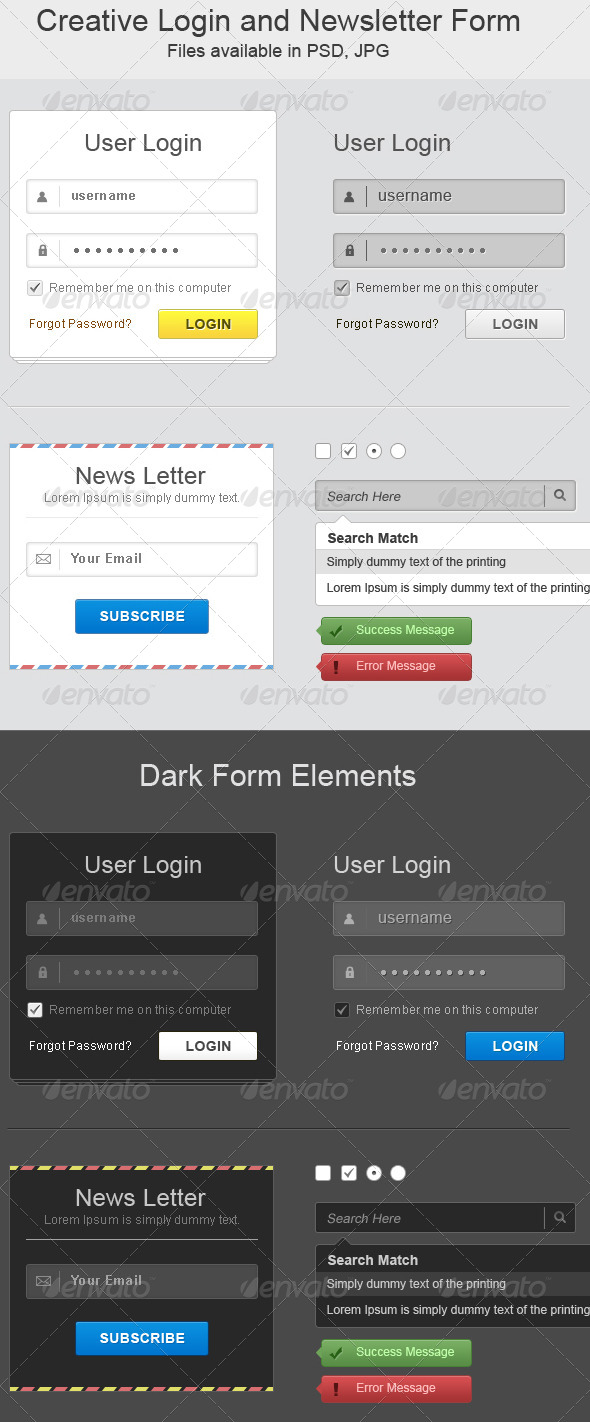 Creative Login and Newsletter Form - Forms Web Elements