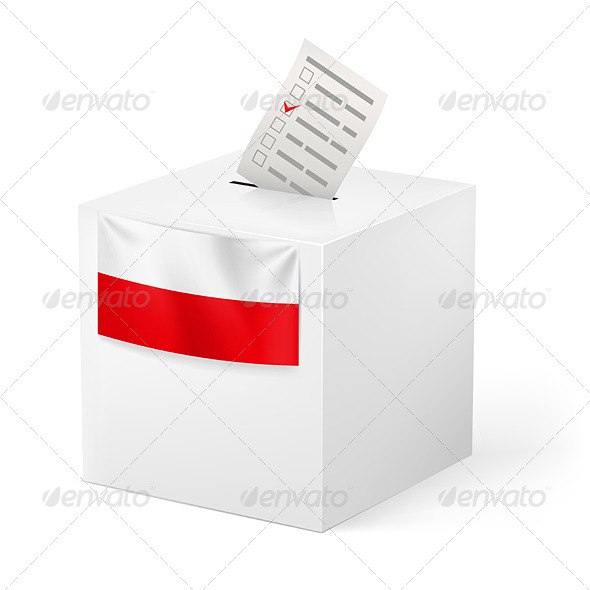 Ballot Box with Voicing Paper for Poland - Man-made Objects Objects