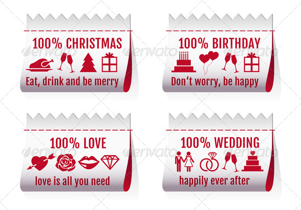 Fabric Tags Textile Labels For Cards, Vector Set - Seasons/Holidays Conceptual